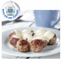 Traditional mini meatballs with yogurt sauce